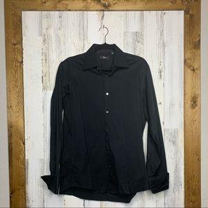 Boss Hugo Boss black mens dress shirt french cuffs